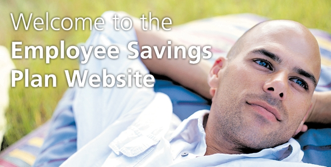 PGW login image: Green grass background with man's head, his hands under his head laying on blue striped pillow. Text: Welcome to the Employee Savings Plan Website